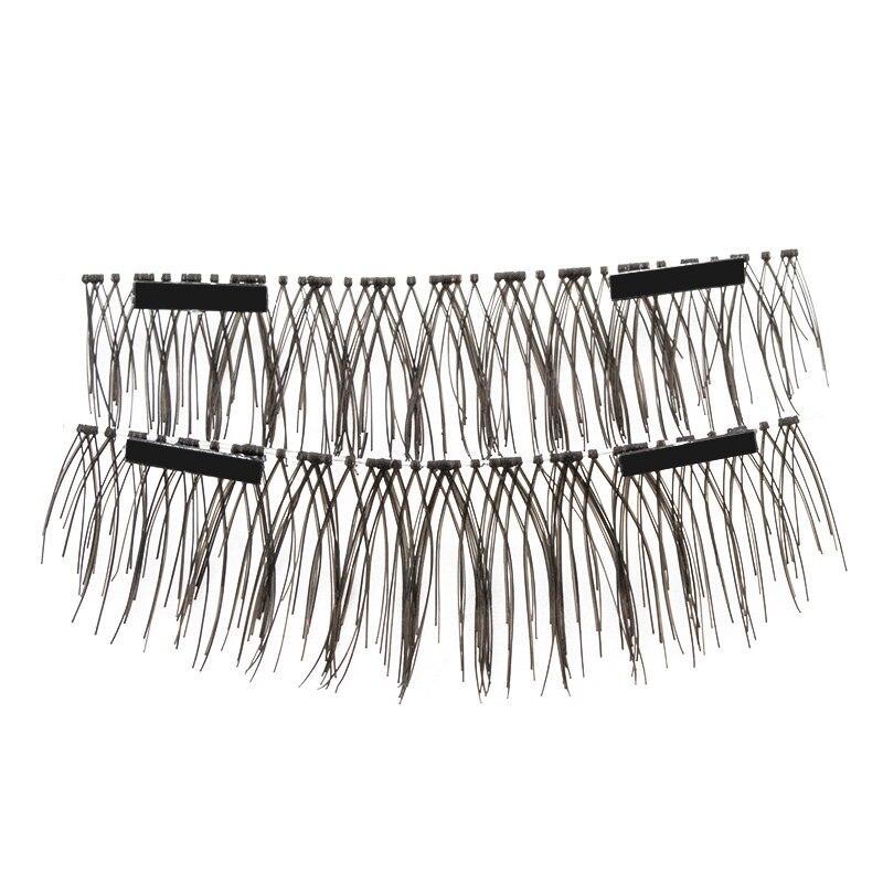 Double cils magnétiques pas de colle vison 4 pcs/paires 3D faux faux cils Extension pleine bande cheveux doux réutilisable à la main C130