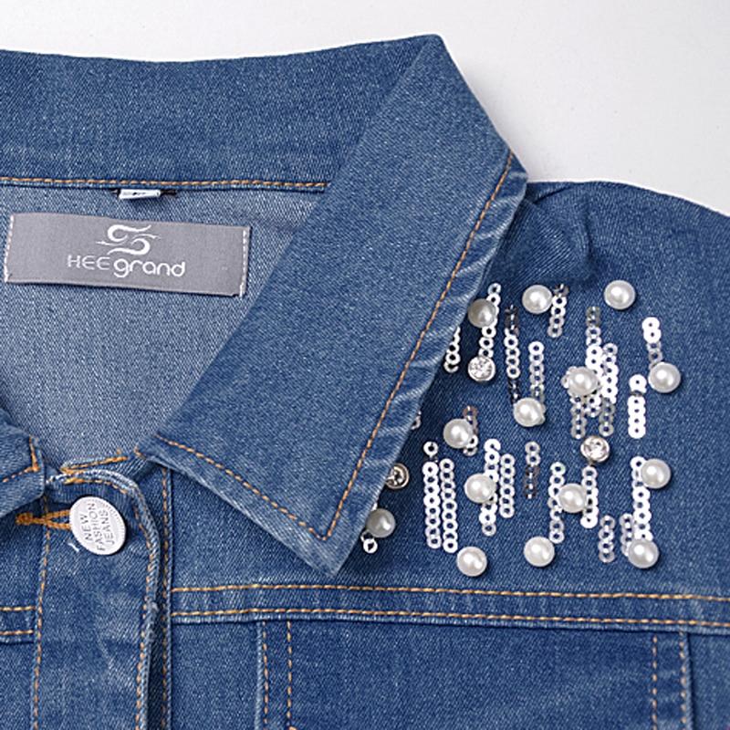 HEE GRAND High Street Fashion Jeans Jacket Women Hole Pearl Slim Denim Coat Mujer Beaded Female Outwear Sequined Girls WWJ841