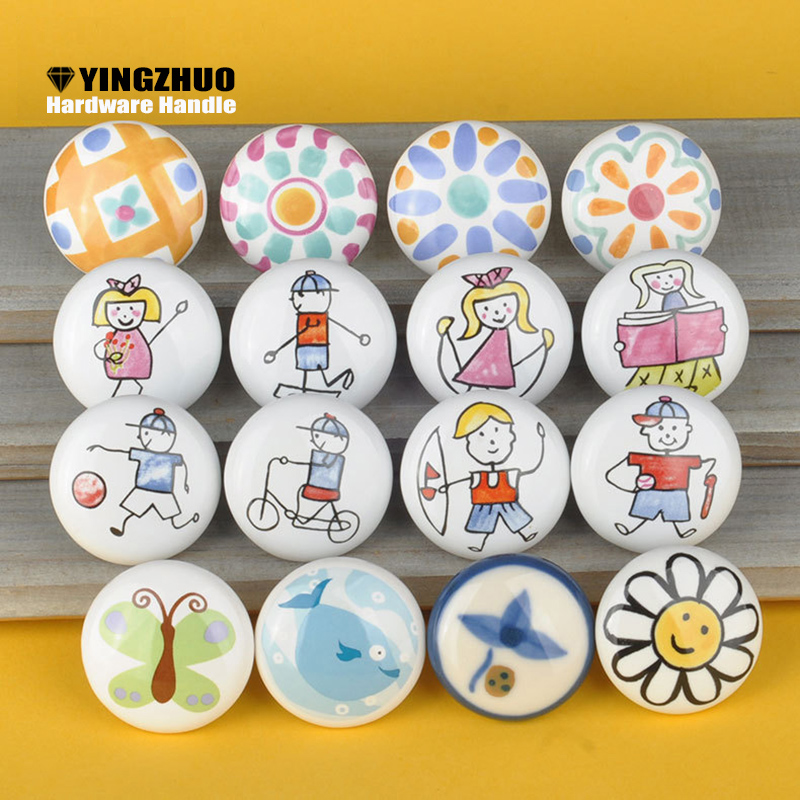 Children's Lovely Creative Bedroom Decoration Flower White Multi-pattern Ceramic For Furniture Hardware Handle Cabinet Wardrobe