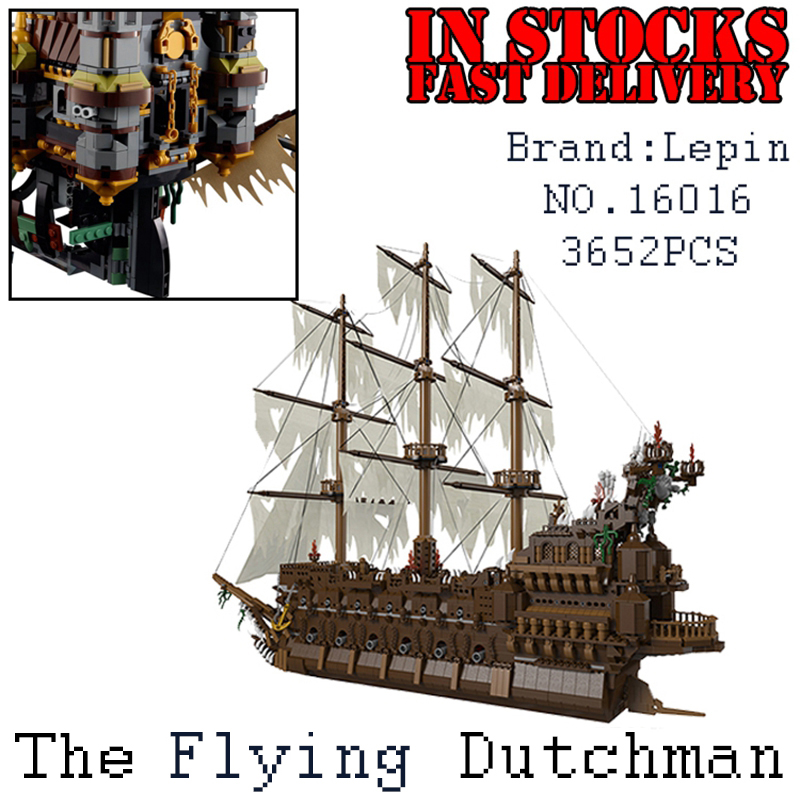 Lepin 16016 3652Pcs Pirates The Flying Dutchman Building Blocks Bricks Educational DIY Toys Model for children Christmas Gifts black pearl building blocks kaizi ky87010 pirates of the caribbean ship self locking bricks assembling toys 1184pcs set gift