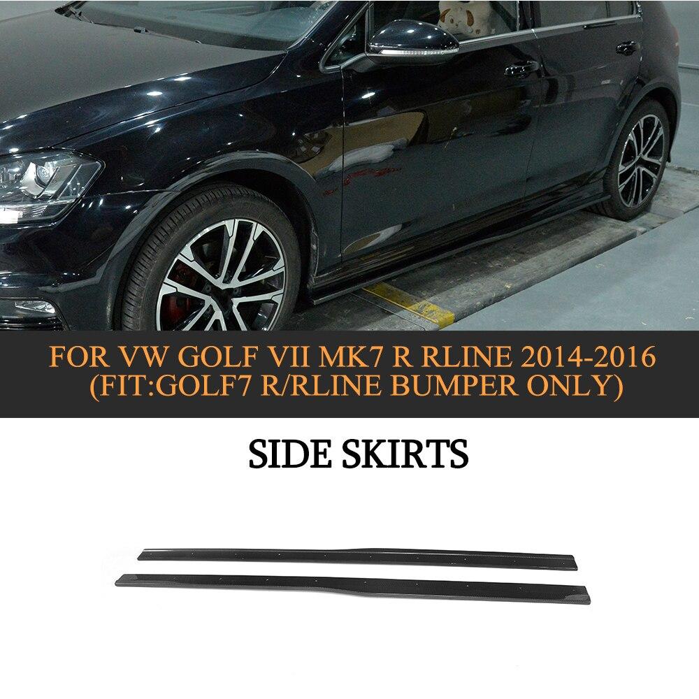 Porte en Fiber De carbone Protecteur Chin Kit Garde Côté Jupes Tabliers pour Volkswagen VW GOLF 7 R R Ligne Hayon 2014 2015 2016 2 pc