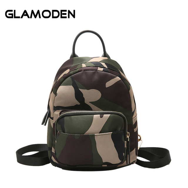 4b1104baaa New Women Backpacks School Bag Small Camouflage Bag Casual Mini Nylon  Backpack for Campus College Students Young Girls Female