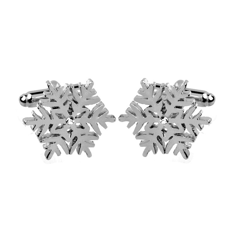 Fashion Romantic Style High quality Crystal Silver Snowflake Flower Shirt Cufflink Brand Cuff Buttons For Men Women Wedding Gift