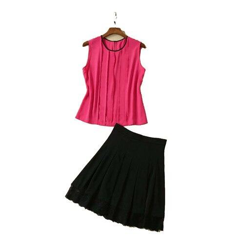 Ensemble deux pièces runwy pour femmes rose rouge débardeur et jupe noire ensembles blouses sans manches une ligne jupe plissée deux pcs vêtements