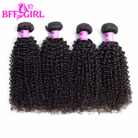 BFF GIRL Mongolian Kinky Curly Hair Bundles 100% Human Hair 3/4 Bundles 10 26 Inches Natural Color Remy Hair Weaves Extensions