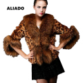 Winter New Arrival Women Artifical Fox Fur Coat Leopard Pattern Fox Fur Collar Short Coat S-XXXL