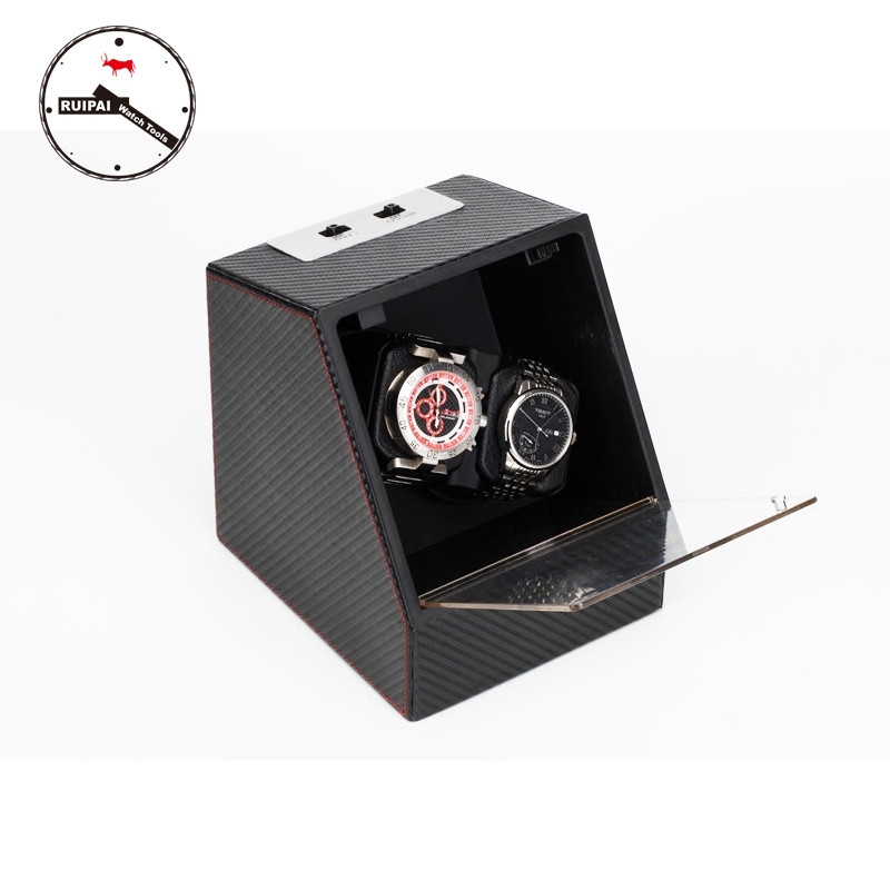 New Arrival P0078-CF Carbon Fiber Multi Modes Watch Storage box Automatic Watch Winder new arrival black color carbon fibre wood watch winder german ultra quiet 5 modes watch winder