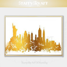 Professional Artist Hand-painted High Quality Abstract Golden New York Landscape Oil Painting on Canvas Knife