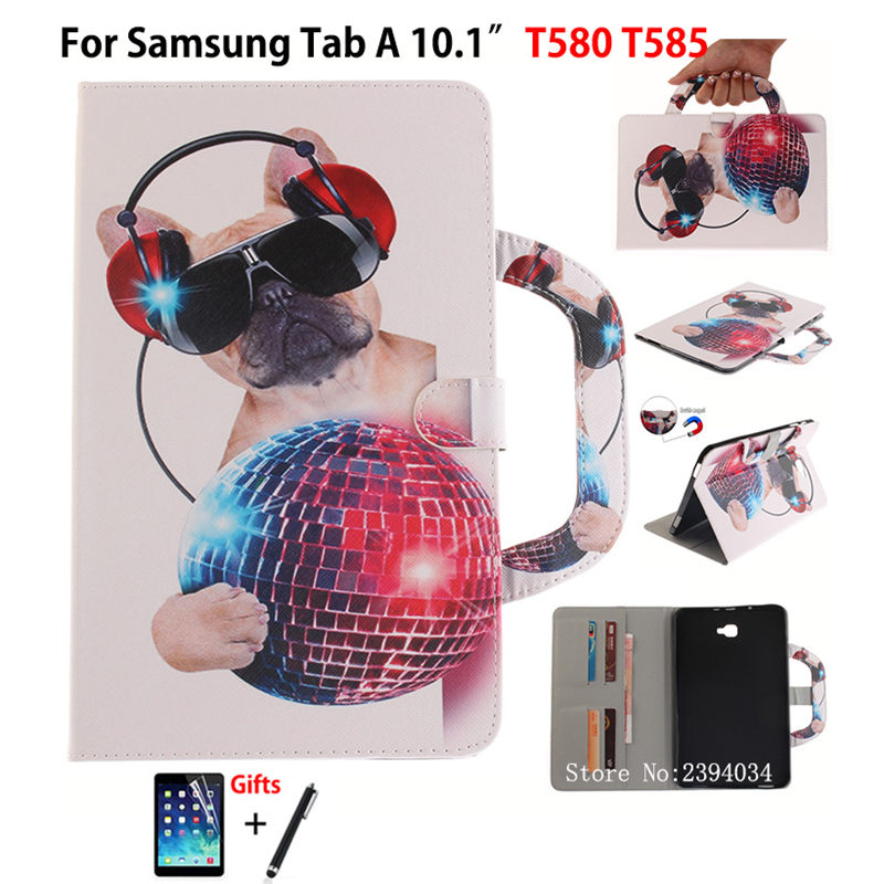 Fashion Cat Dog Tiger Cover For Samsung Tab A A6 10.1 SM-T580 T585 T580 T585N Smart case Funda handbag Stand Shell +Film +Pen fashion painted flip pu leather for samsung galaxy tab a 10 1 sm t580 t585 t580n 10 1 inch tablet smart case cover pen film