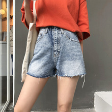2019 Women Denim Shorts Casual Ripped Hole Sexy High Waist Hip Loose Wide Leg Frayed Hot Shorts for Women Plus Size stylish destroy wash frayed low waist denim women s shorts