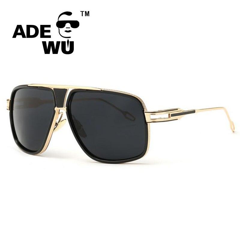 ADE WU de Témoignages Hommes Lunettes de Soleil Marque Designer Homme  Conduite Surdimensionné 18 K Or lunettes de Soleil Femmes Shades Mâle  Lunette De ... 36f39edcefbb
