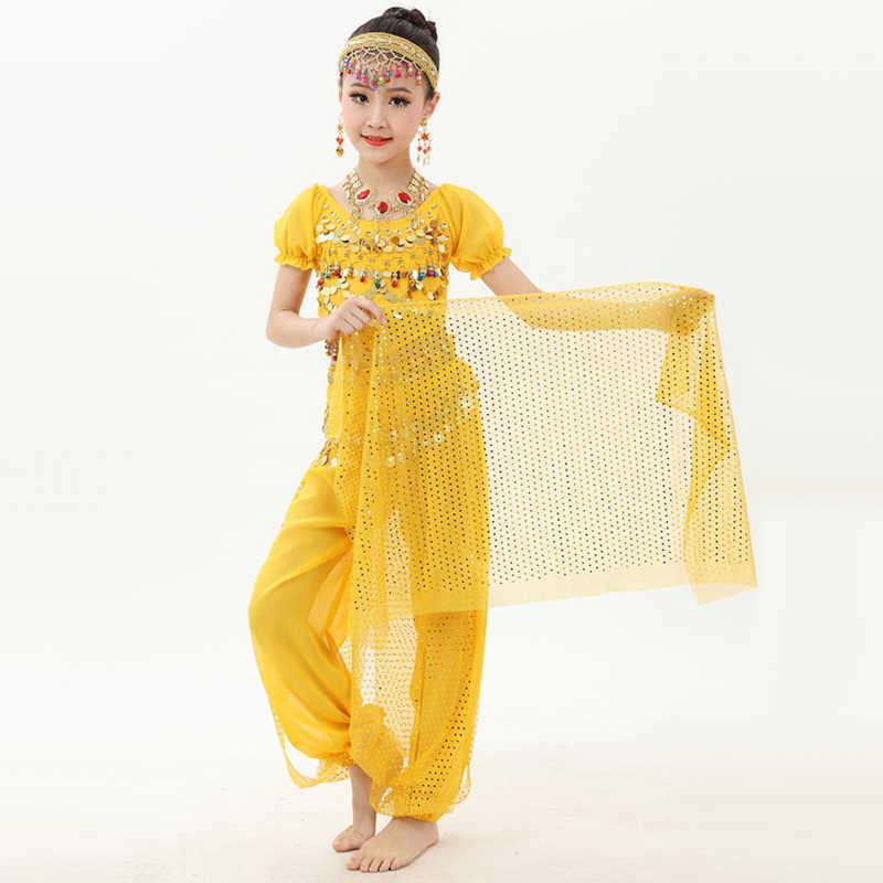 Heißer Verkauf Indischen Tanz Kostüme Für Kinder Kinder Bauchtanz Bekleidungs Bauch Triba infantil Schülerin Rehearsal Anzüge Q4008