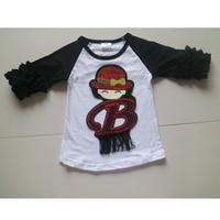 black ruffle icing t-shirts for girls 3/4 raglan ruffle wholesale shirts children black 3/4 sleeve baseball ruffle tees  shirts