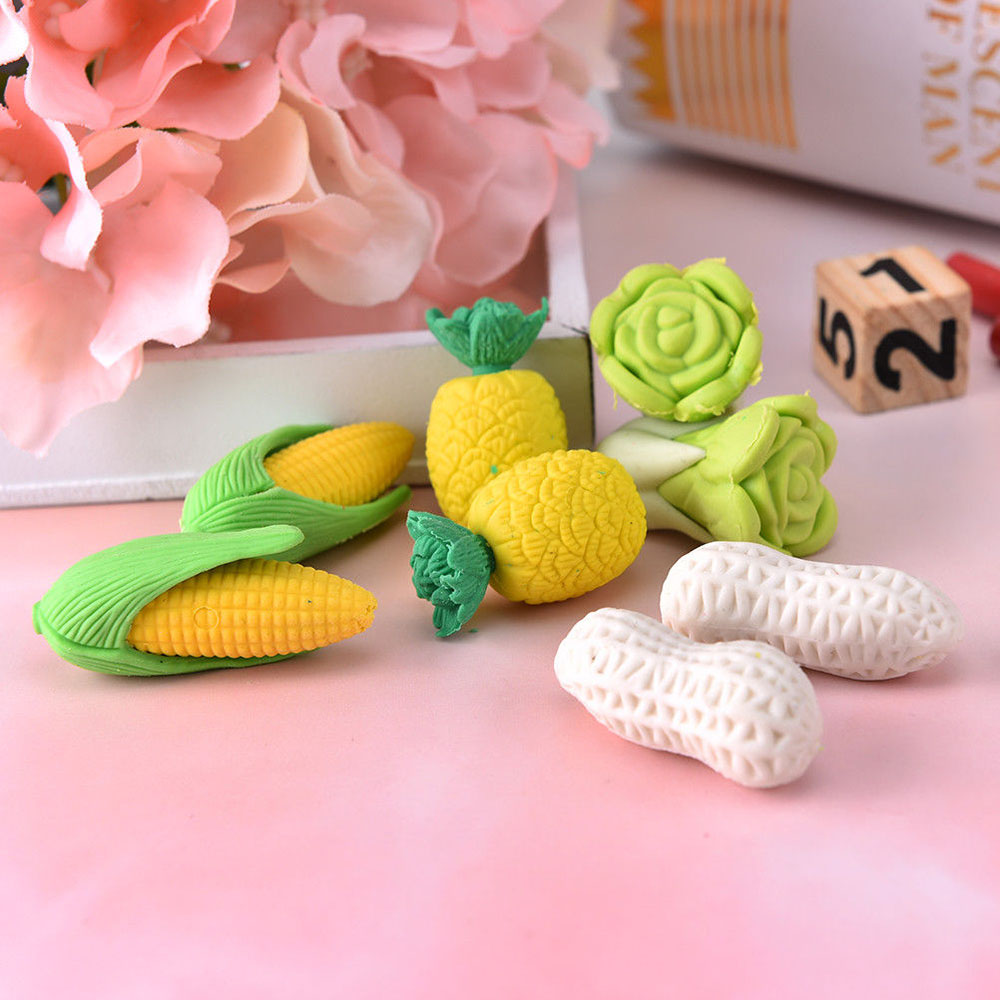 2pcs/pack Vegetables Cabbage Pineapple Corn Peanut Pencils Eraser Rubber For Kids Gifts Non-toxic Safe Material Children Gift