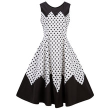 e6aaa30bb0c Plus Size 4XL Black Color Polka Dot Print Women Vintage Dress Audrey Hepburn  1960s Retro Dress Summer Vestidos Party Dress