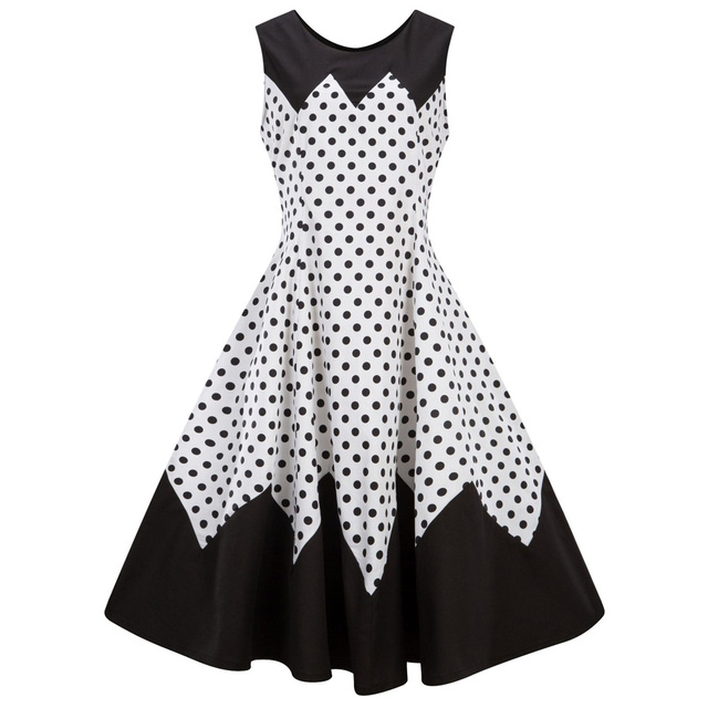 a0f4429ec8bdd8 Plus Size 4XL Black Color Polka Dot Print Women Vintage Dress Audrey  Hepburn 1960s Retro Dress Summer Vestidos Party Dress