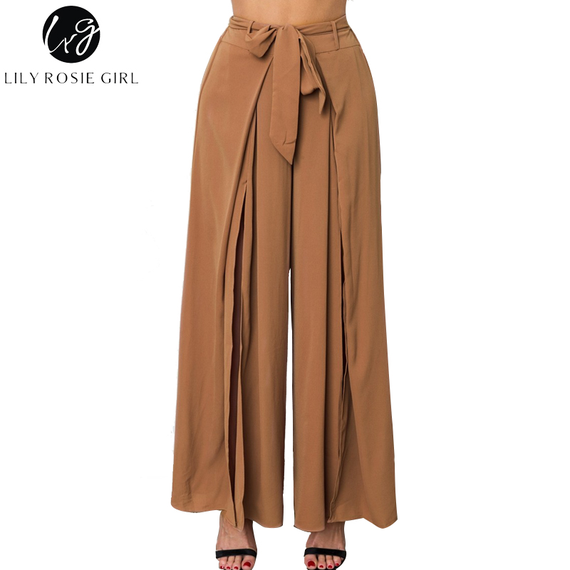 Lily Rosie Girl Khaki Sexy Split Women Long   Pant   High Waist   Wide     Leg     Pants   2018 Summer Casual Female Trousers Belt Loose Trouser