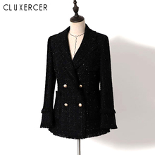 Tweed Blazer Women Elegant Double Breasted Office Femme Fashion Black Sequin Long Spring Jacket Ladies