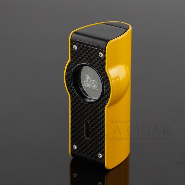 LUBINSKI Laser torche briquet 4 rouge Jet flamme allume-cigare coupe-vent briquets avec intégré cigare Punch batterie de secours
