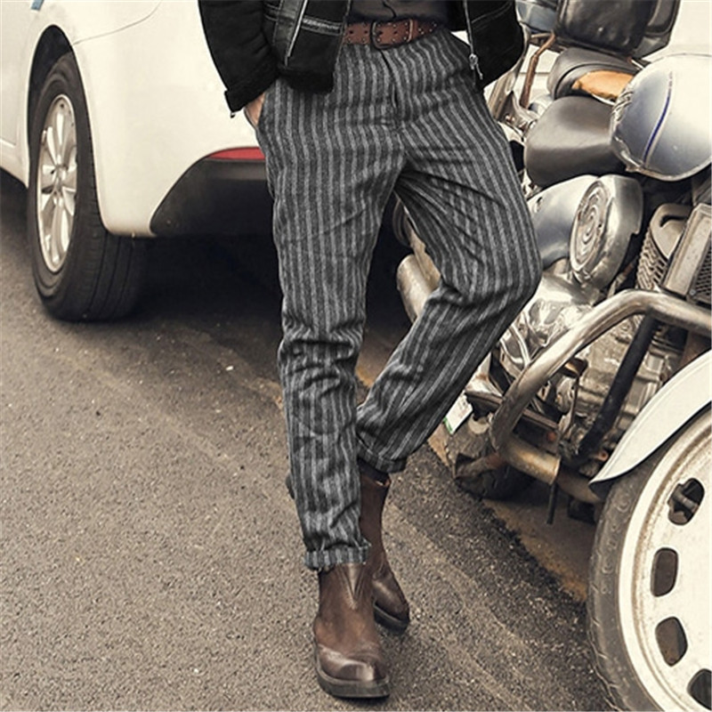 New England Style Spring Men Slim Fit Straight long Pants Male Casual stripe skinny casual pants business Fashion trousers K681