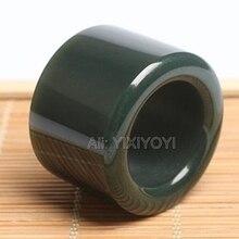Чудесный 22 мм внутренний диаметр натуральный зеленый Хотан нефрит большой палец счастливое кольцо Модные мужские нефритовые кольца ювелирные изделия 25-30 мм в ширину