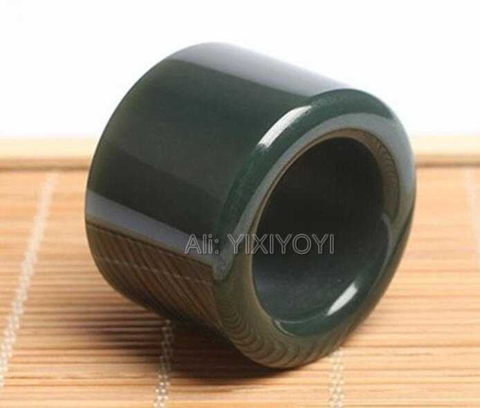 Wonderful 22mm inner diameter Natural Green HeTian Jade Large Thumb Lucky Ring Fashion Man's Jade Rings Jewelry 25-30mm wide