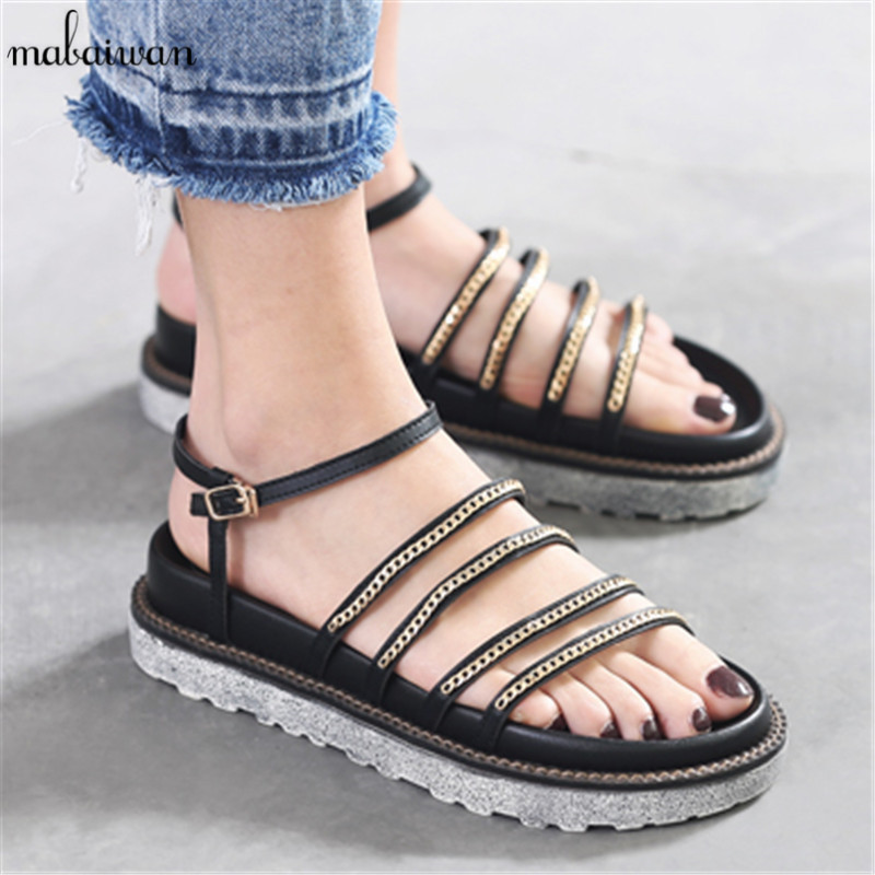 Fashion Women's Shoes Flip Flops Flats Gladiator Sandals Gold Chain Summer Beach Open Toe Shoes Woman Platform Footwear Sandal phyanic 2017 gladiator sandals gold silver shoes woman summer platform wedges glitters creepers casual women shoes phy3323