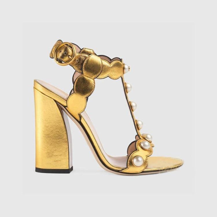 Or 2017 Chaussures Black Boucles Nouveau Perle Sandales Boucle Côté gold D'été Mot Et Cuir Haute Printemps Épais Feuilles Talons ERRqr