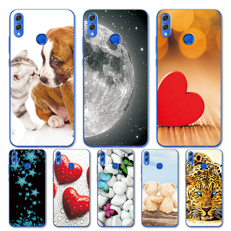 Cute Heart Patterned Case For Huawei <font><b>Honor</b></font> 8X Case Silicon Soft TPU Cover <font><b>Bumper</b></font> For Huawei <font><b>Honor</b></font> <font><b>9</b></font> <font><b>Honor</b></font> <font><b>9</b></font> <font><b>Lite</b></font> Case Shell Capa image