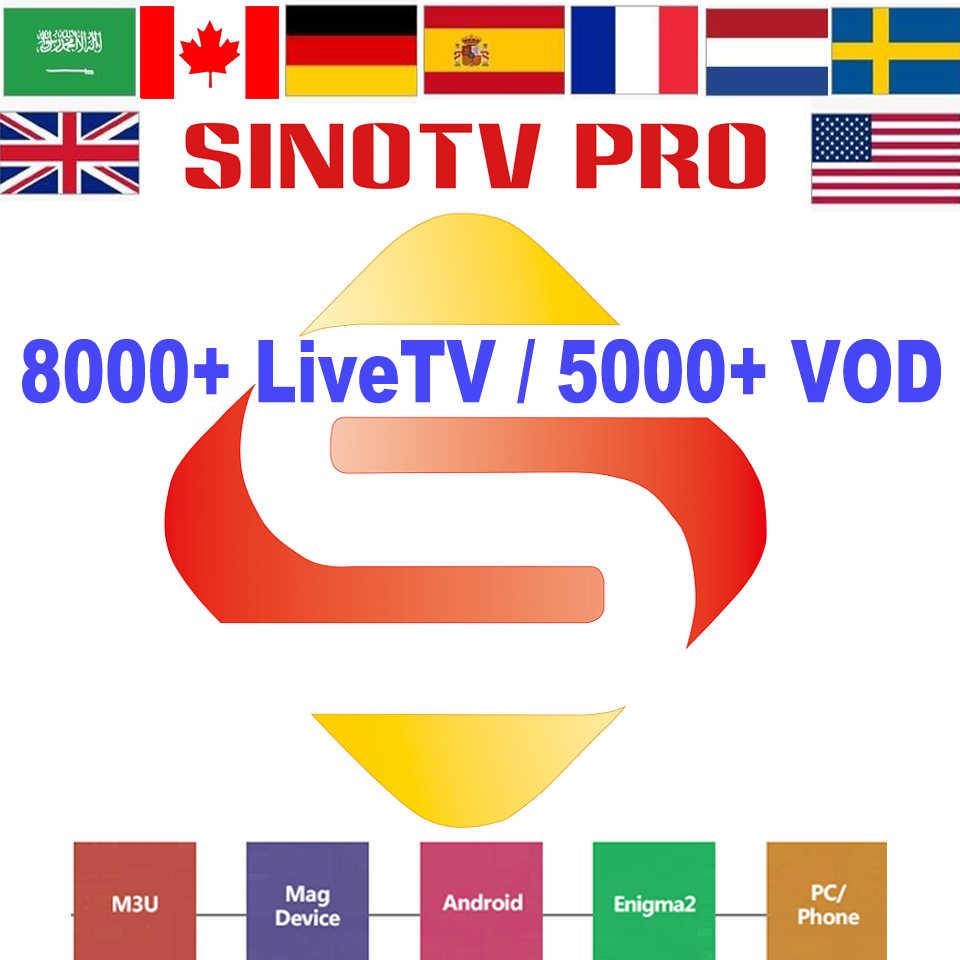 Abonnement Latino-américain IPTV Sinotv Pro grèce chypre slovénie slovaquie hongrie belgique France télévision suédoise chaînes asiatiques M3U