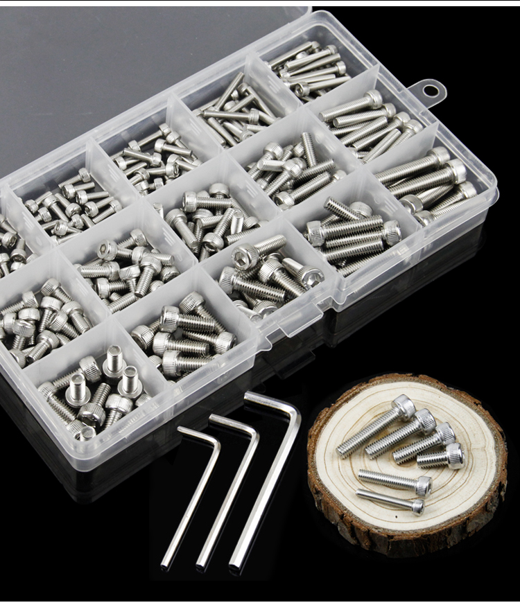 free shipping one set 221 pcs 304 stainless steel hexagon socket set screw hex head cap screws M3M4M5 100pc din912 m3 x 20 white plastic nylon screw hexagon hex socket head cap screws
