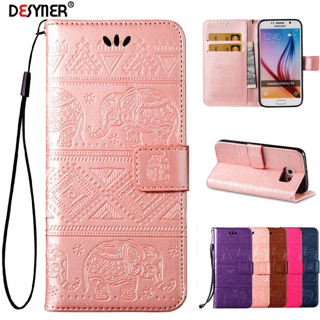 quality design 4e73c 40cf5 US $4.19 |Desyner High quality Elephants Embossed Flip Wallet Phone Case  for Samsung galaxy S6 EDGE Plus Cover with Card holder-in Wallet Cases from  ...