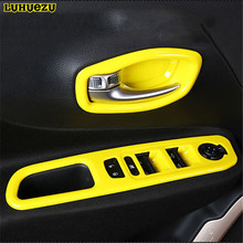 Luhuezu ABS Painted Interior Door Handle Bowl Car Window Lift Switch Styling Trims For Jeep Renegade Accessories 2015 2016 2017