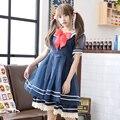 Princesa dulce lolita vestido de la nueva primavera vestido departamento Sen of The viento Navy arco vestido LQ5120
