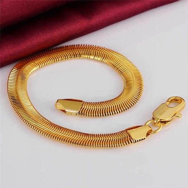 10MM soft snake bone chain bracelet men women  yellow gold plated fashion jewelry 20cm long