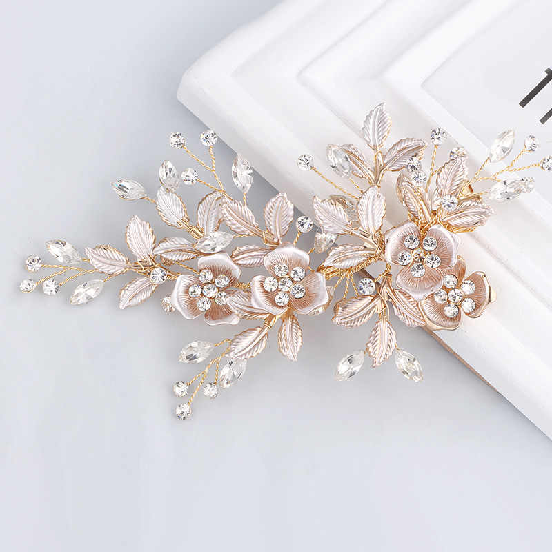 Gorgeous Handmade Golden Austrian Crystals Rhinestones Flower Leaf Wedding Hair Clip Barrettes Bridal Headpiece Hair accessories