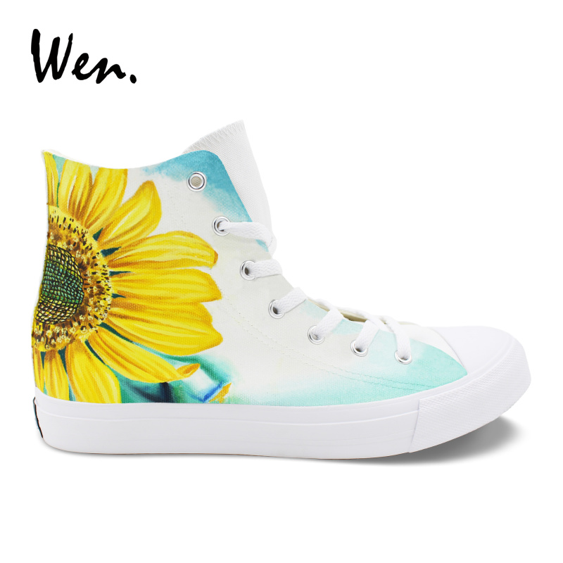 Wen Original Design Sunflower Hand Painted Shoes Floral Painting Canvas Sneakers Plimsolls Lacing Casual Flat High Help Loafers canvas hand painted sunflower oil painting 50 x 60cm