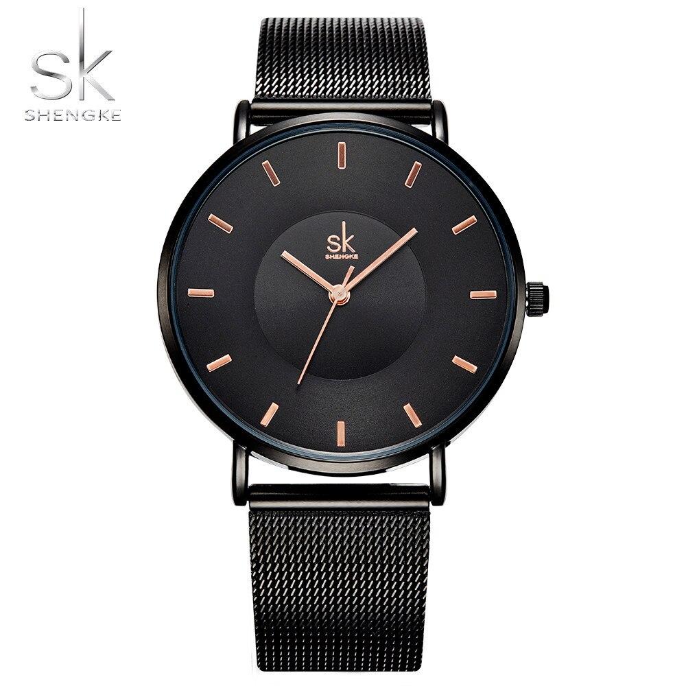 Shengke de moda negro relojes de mujer 2017 de alta calidad Ultra delgado reloj de cuarzo de mujer elegante vestido reloj Montre Femme SK