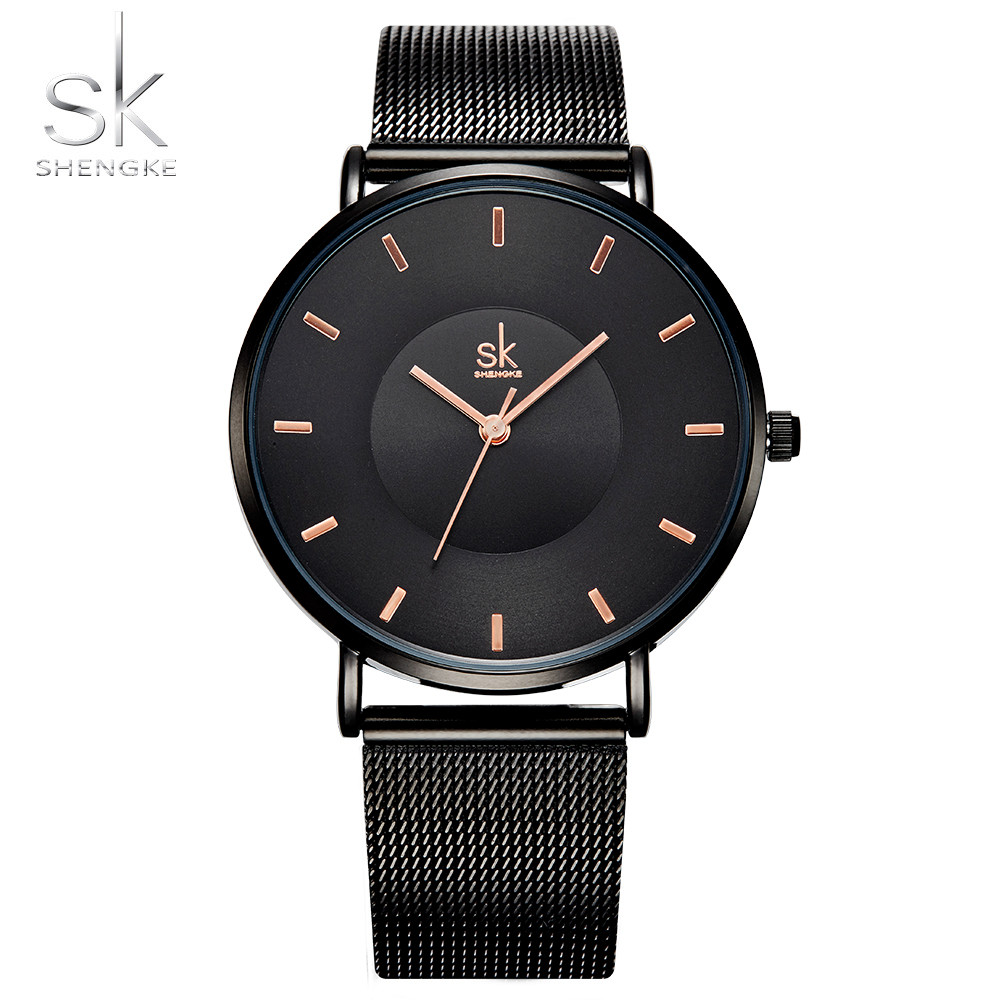 Shengke relojes negros de moda para mujer 2017 reloj de cuarzo ultrafino de alta calidad elegante vestido para mujer reloj Montre Femme SK