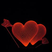 High Quality colorful Double LOVE Heart Shape night light 7 colors Lamp LED Night Light Wall Lamps for Wedding Party