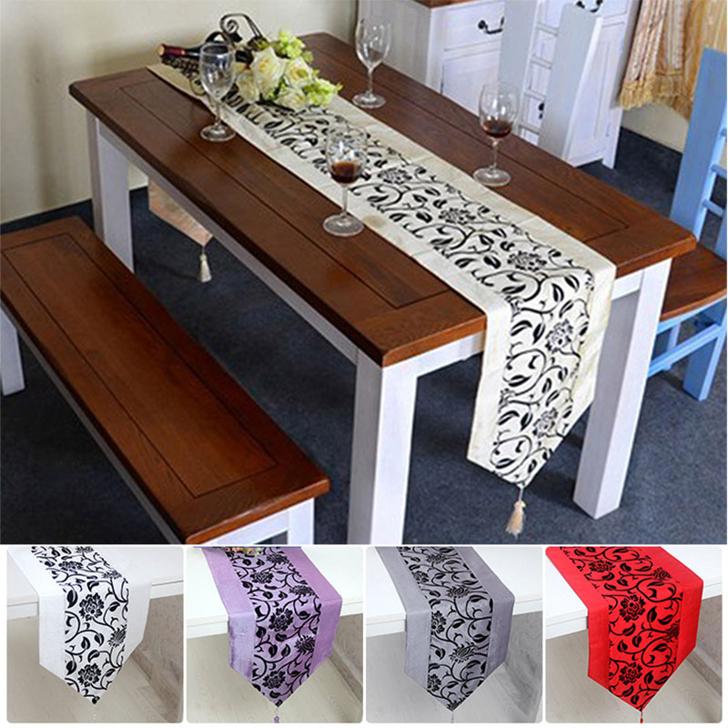 Simple Table Runner Cloth Floral Printed Taffeta Retro Decorative Wedding Bed Table Linen Decoration Hogard