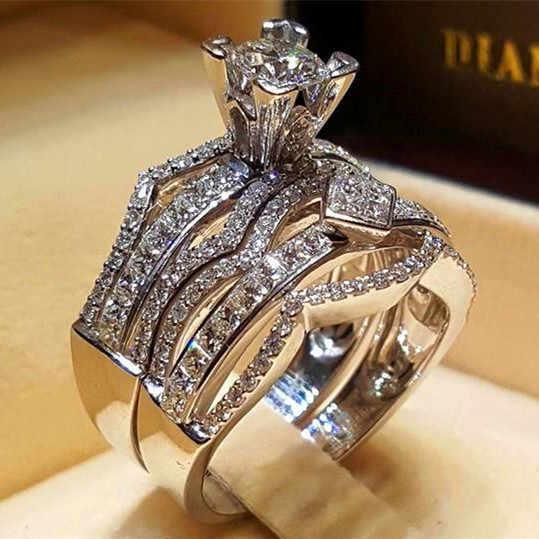 Cristal de luxo feminino grande anel de pedra conjunto moda rainha 925 prata anéis de noivado nupcial para as mulheres promessa amor dedo anel