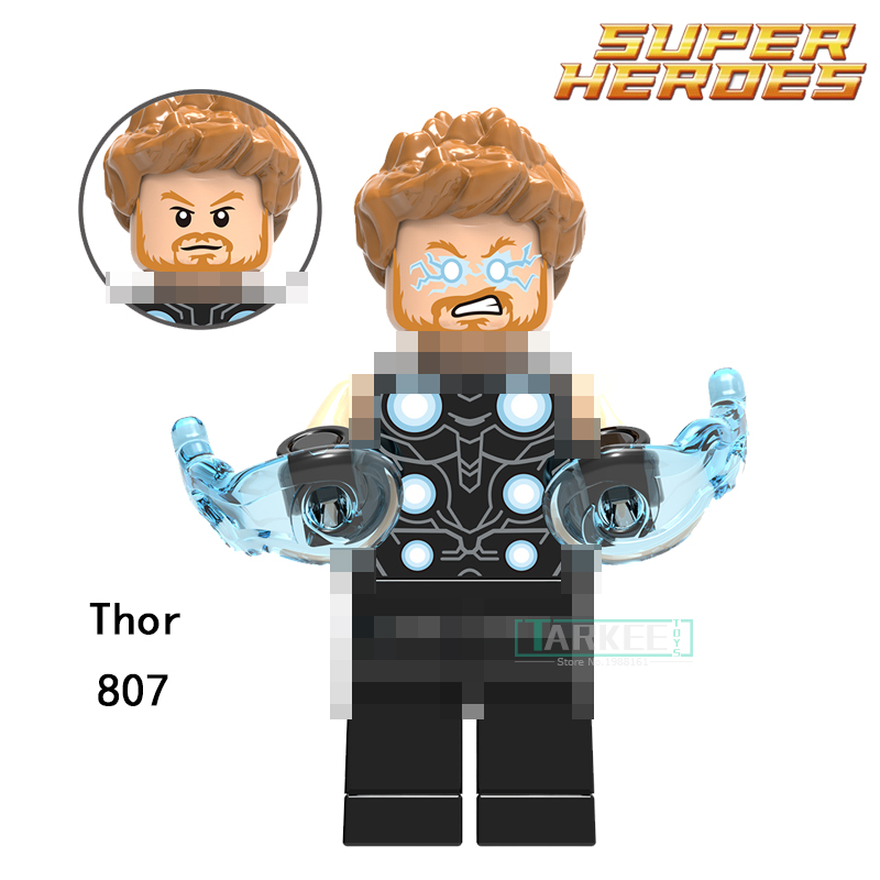 Single Sale Building Blocks Thor Super Heroes Handsome Model Toys Hobbies Children Gifts Bricks Marvel DIY Figure 807 single sale super heroes thor spiderman captain america batman hawkeye bricks action building blocks toys for children xh 004
