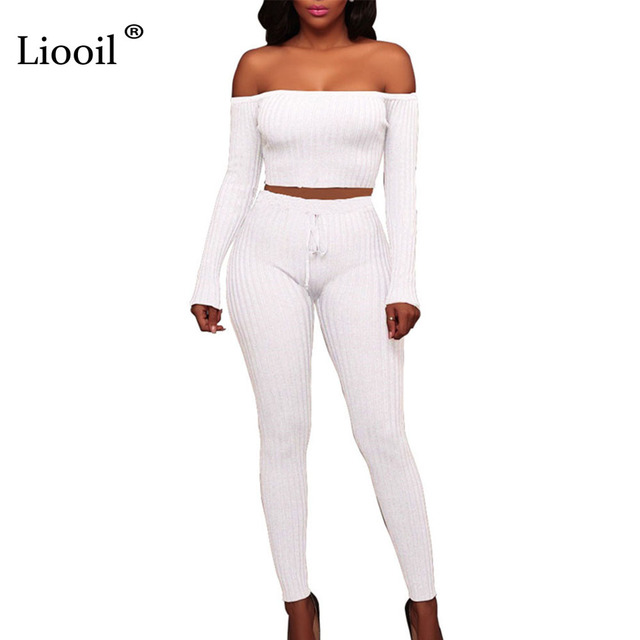 aa172963632b Liooil Two Piece Ribbed Sexy Jumpsuits For Women 2019 Long Sleeve Off  Shoulder Backless Party Bodycon Rompers Womens Jumpsuit