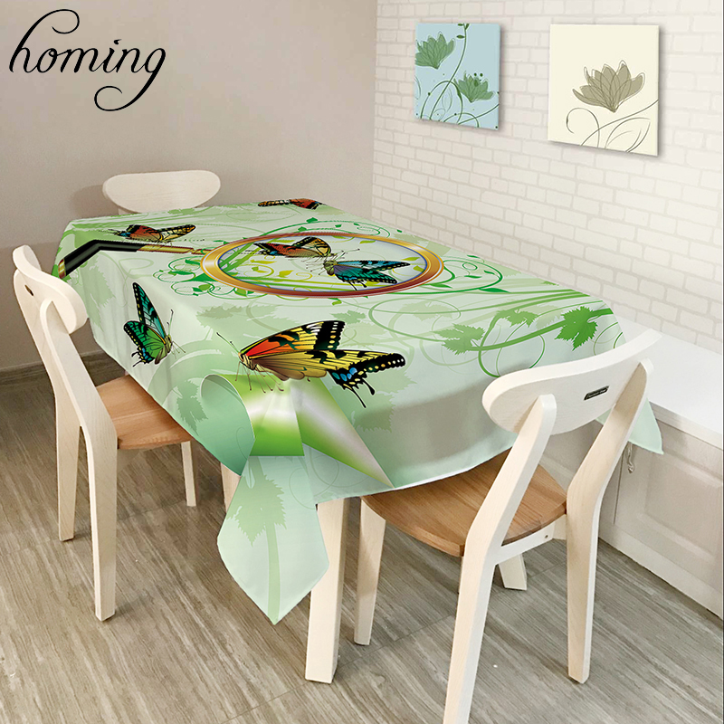 Homing Durable Dustproof Coffee Decoration Table Cloth Dreamlike Buautiful Colorful Butterflies Pattern Muti purpose Table Cloth