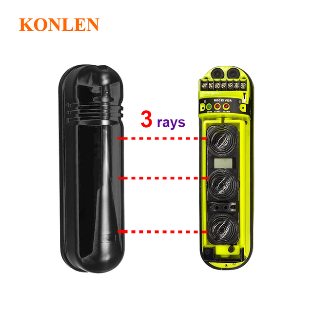 LCD focus wired outdoor IR beam detector 3 rays infrared barrier Active photoelectric House Gate Door Fence perimeter Alarm 250m