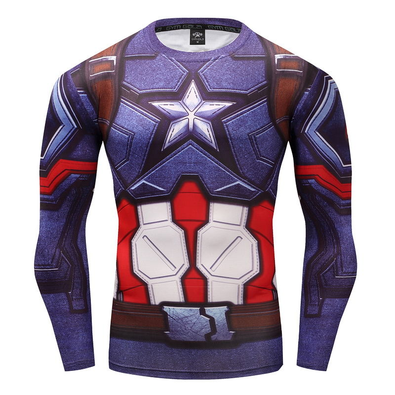 Hot New 3D Printed T-shirts Captain America Compression Shirt Long Sleeve Cosplay Clothes Male Tops Halloween Costumes For Men
