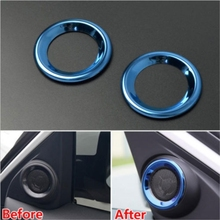 2x Stainless steel Auto accessories Interior Chrome Front Door Speaker Ring Cover Trim Fit For Honda Civic 2016 2017 Car Styling