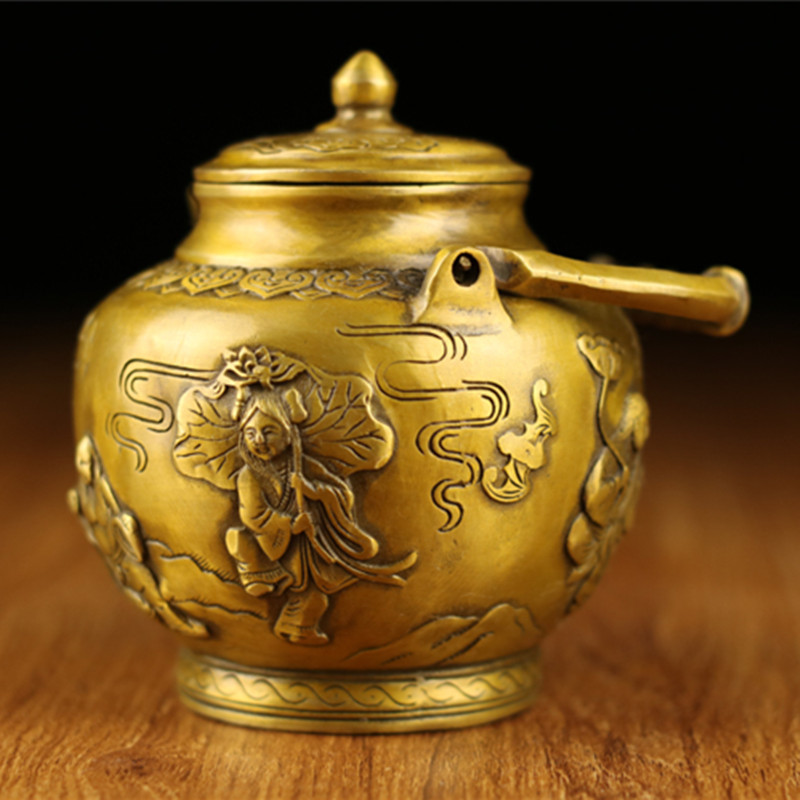 XING KILO Retro Palace Pure Copper Dragon and Phoenix Wine Pot Decoration Copper Pot Teapot embossed dragon pattern collection