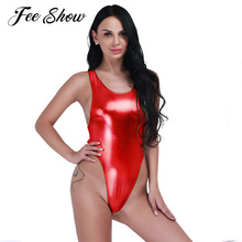 Hot Sexy Shiny Latex Bodysuit Thong Sexy Leotard Underwear Women Lingerie Faux Leather Erotic One Piece Underwear Latex Bodysuit
